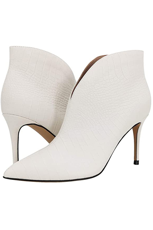 White textured ankle boots available in larger shoe sizes for women