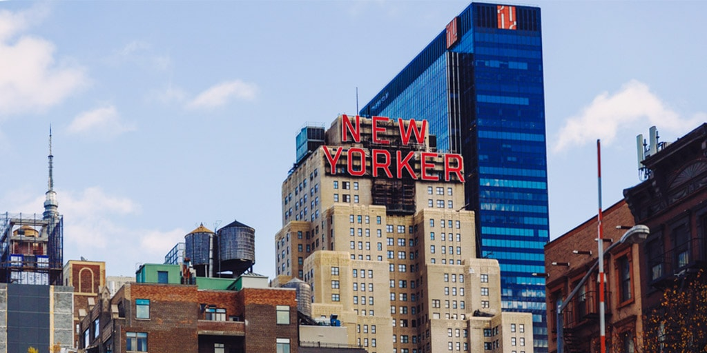 New Yorker building in the garment district New York