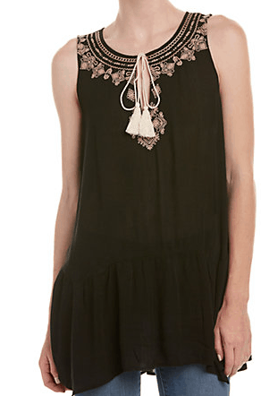Black Tunic with neckline detail and tassels