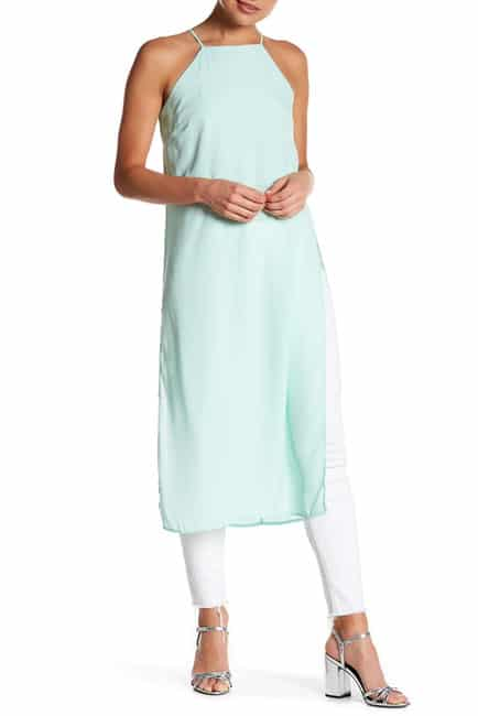 Mint green, long-line, sleeveless tunic with side slits