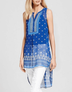 Bright blue, patterned, sheer tunic with high-low hem