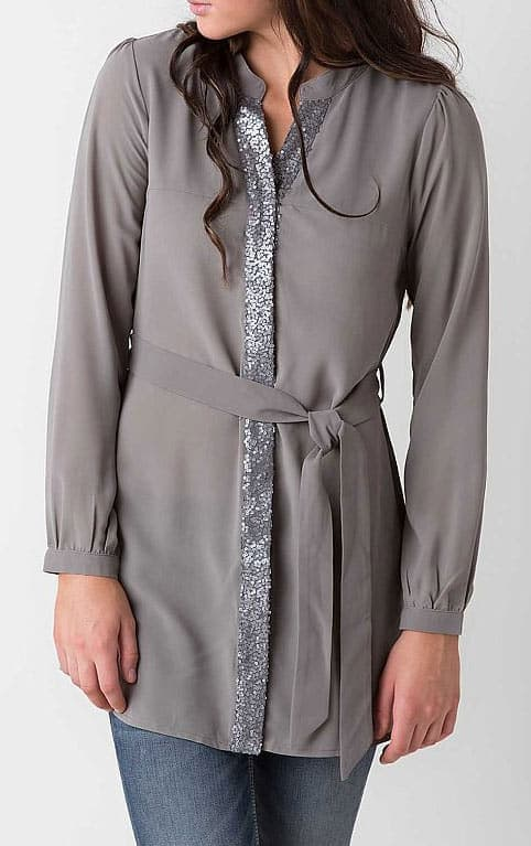 Dark Grey, button down, belted tunic with sequin detail