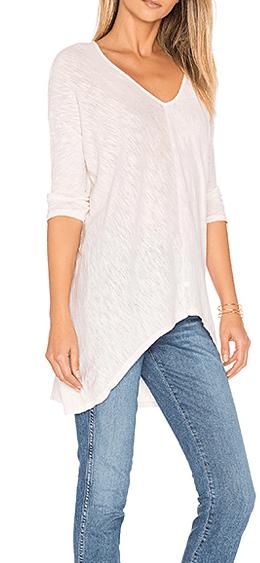 Cotton V-neck dolman sleeve tee shirt