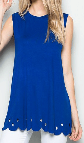 Royal blue tunic with scalloped hem