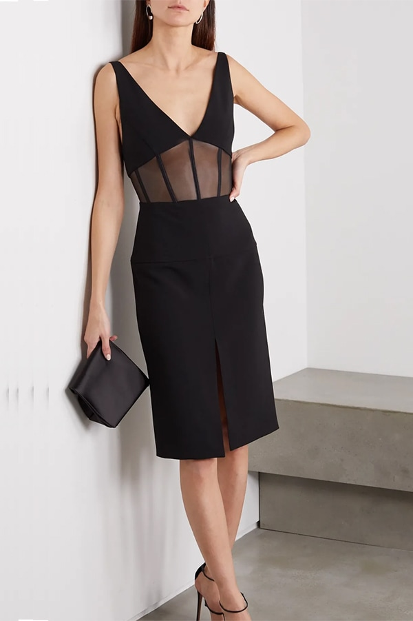 Black v-neck dress with sheer cutouts by Mugler