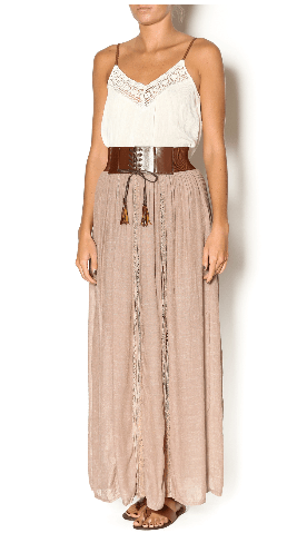 Mocha colored long skirt with wide leather belt and tank top