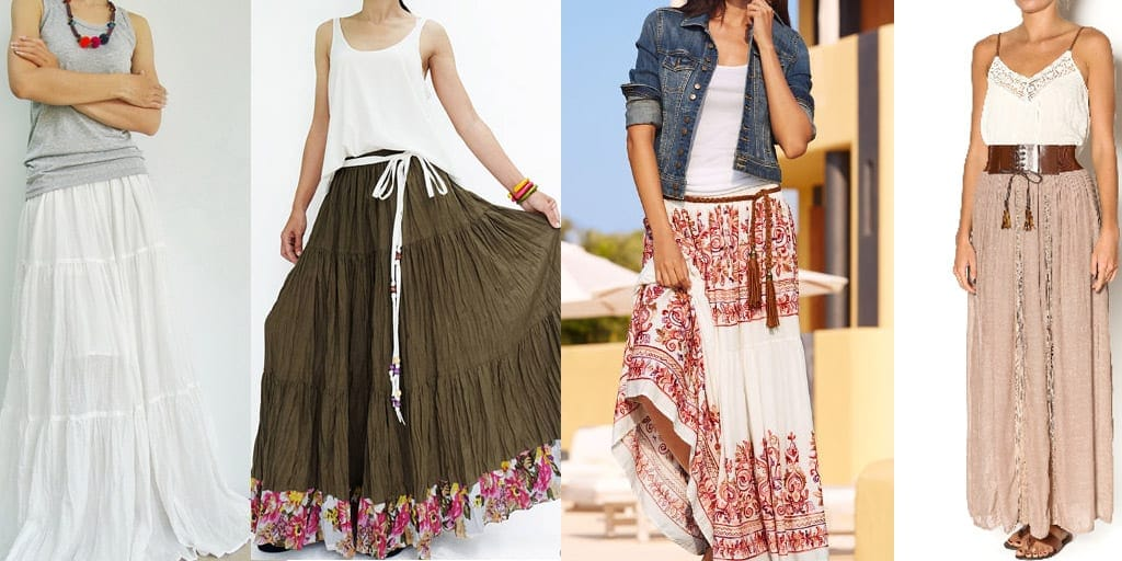 Collage of four peasant skirt outfits