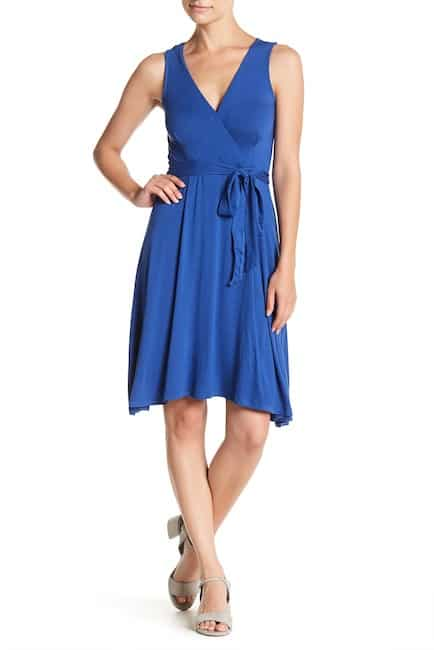 Blue wrap dress for inverted triangle shape body
