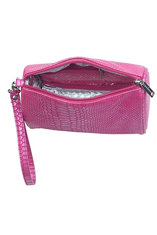 Hot pink crocodile designed insulated bag
