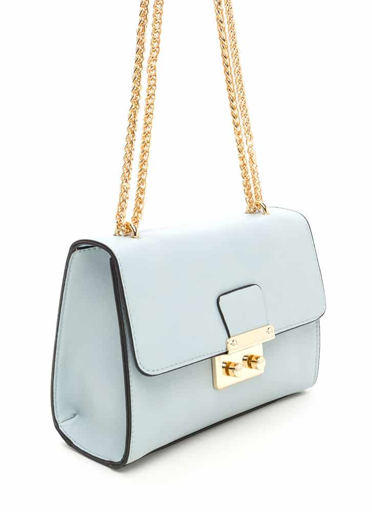 Mint green boxy strap bag