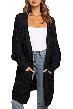 Long cardigan with batwing sleeves