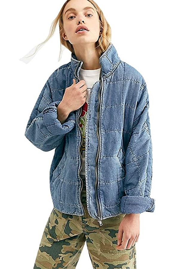 Oversized denim coat for women with big arms from Free People
