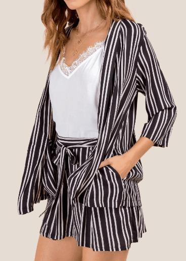 Striped blazer and short set on sale