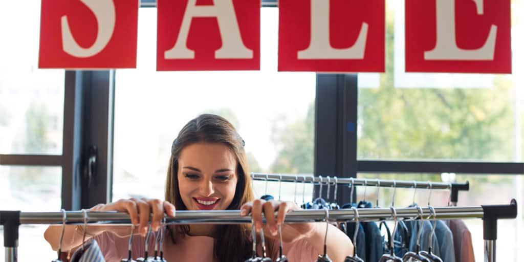 Woman shopping a sale