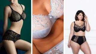 Collage of three large-chested women wearing bras.