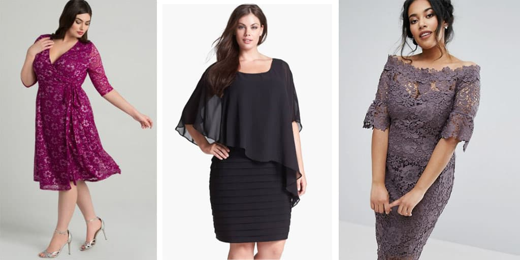 Collage of plus size evening dresses