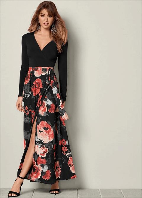 Venus Printed Wrap Dress