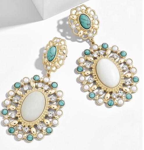 Chunky white and green earrings