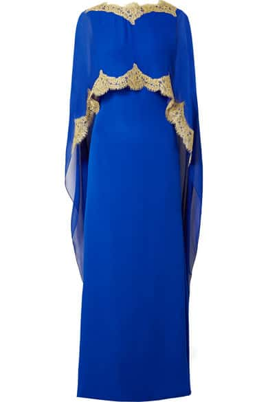 Reem Acra blue gown with cape detail