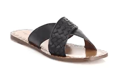 Black criss cross sandals by Bottega Veneta