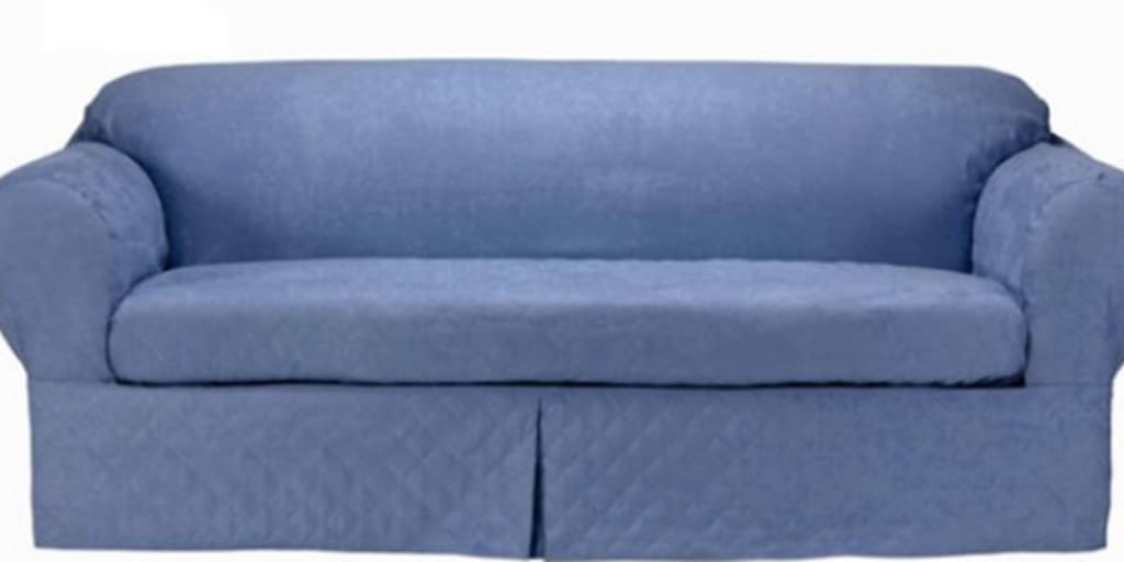 Blue microsuede slipcover