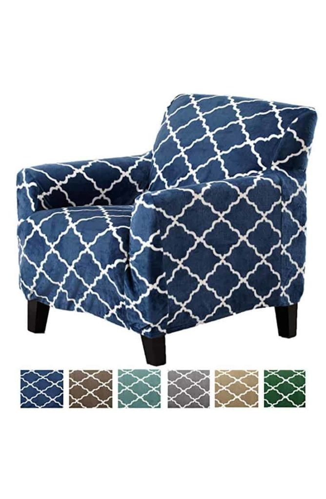 One of Amazon's affordable slipcovers with blue pattern