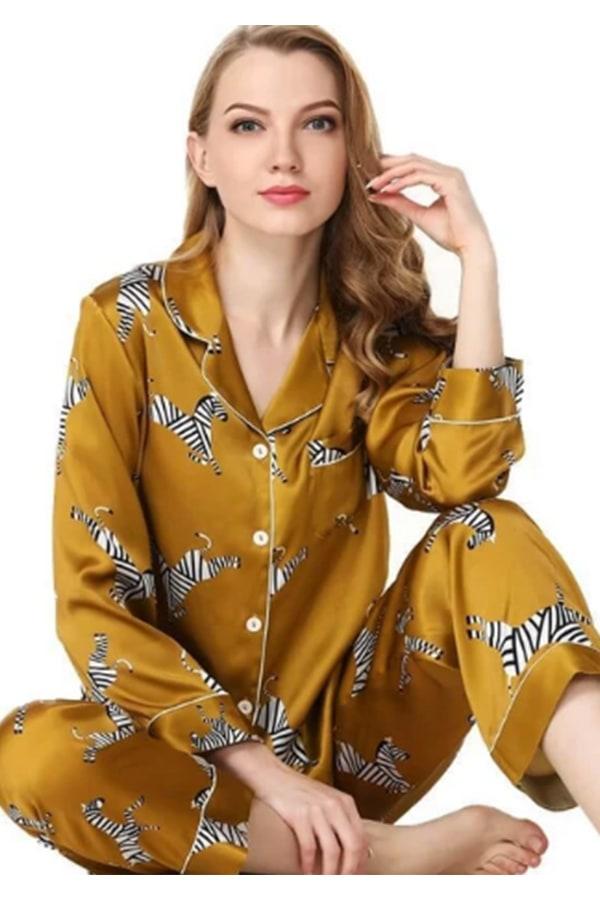 Zebra print silk pajamas
