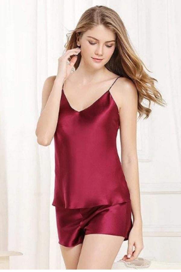 Red silk pajamas set