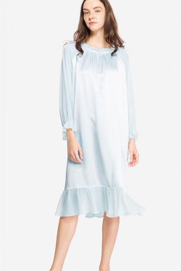Blue silk nightdress