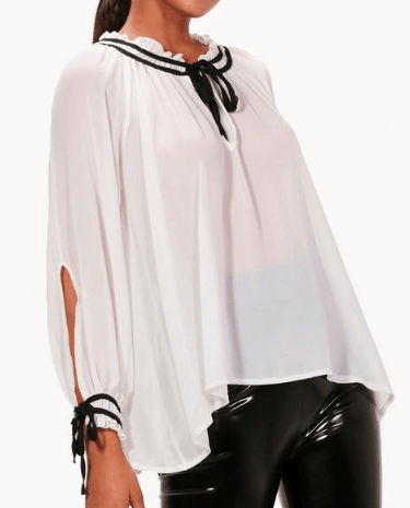 White and black tie-neck blouse