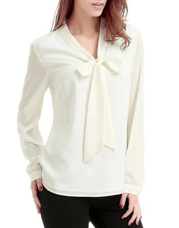 Ivory tie neck blouse