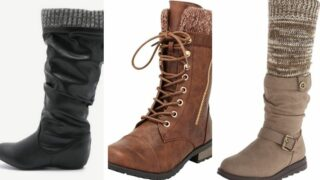 Three pairs of knit cuff boots.