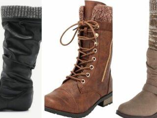 Three pairs of knit cuff boots.