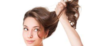 Brunette holding up her hair
