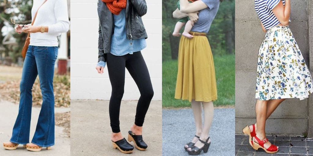 collage of four outfits with clogs