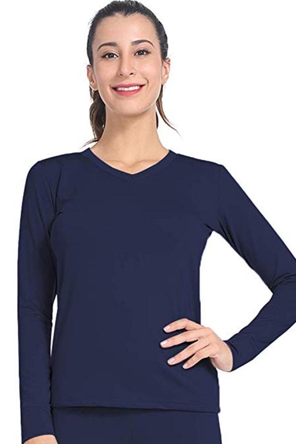 Blue base layer ski shirt