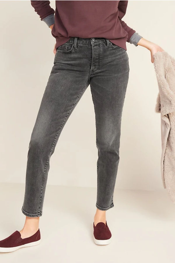 Gray wash straight leg jeans.