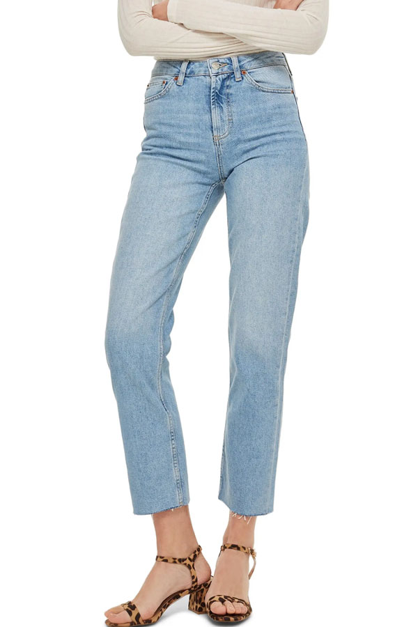 Cropped, high-waisted not-so-skinny jeans.