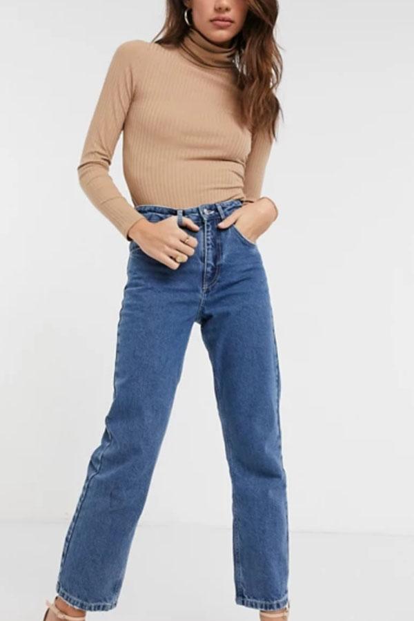Medium wash, '90s-inspired jeans.
