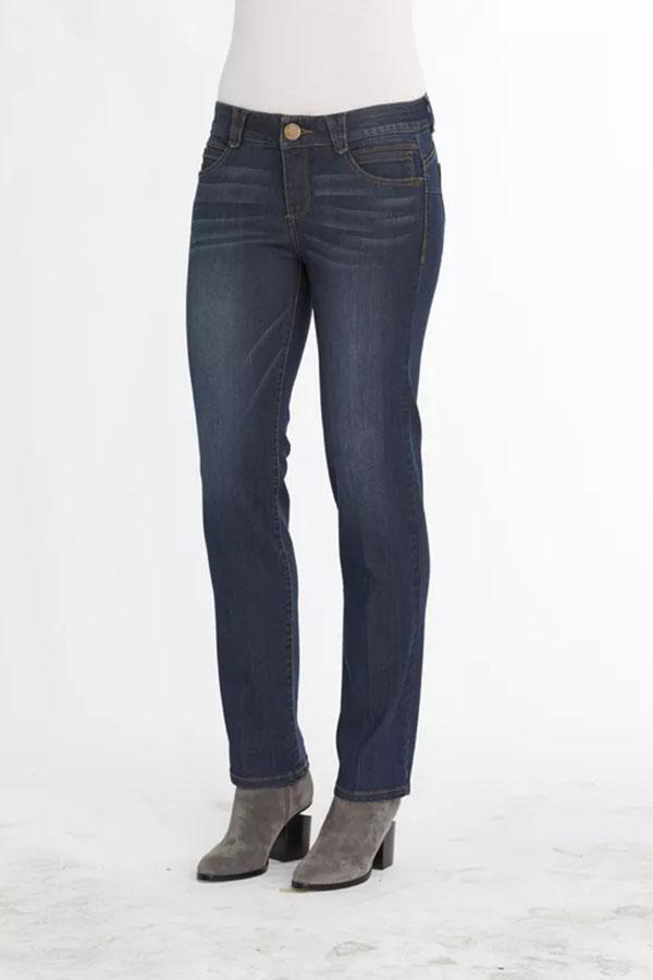 Dark wash jeans with straight leg.