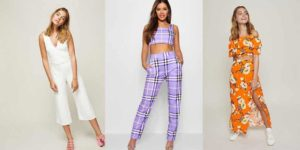 Collage of three petite outfits from petite shops online
