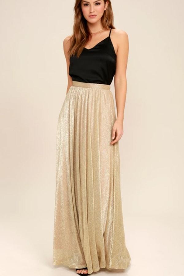 Gold shimmery maxi skirt