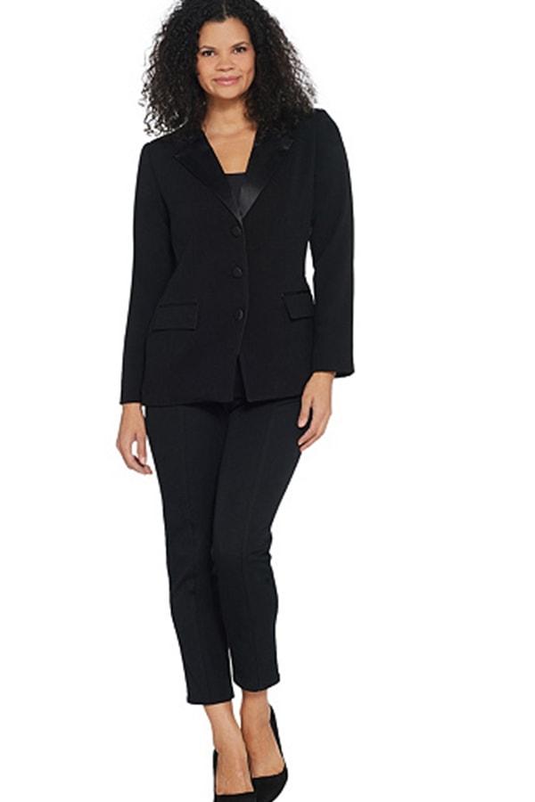Woman wearing black tuxedo jacket