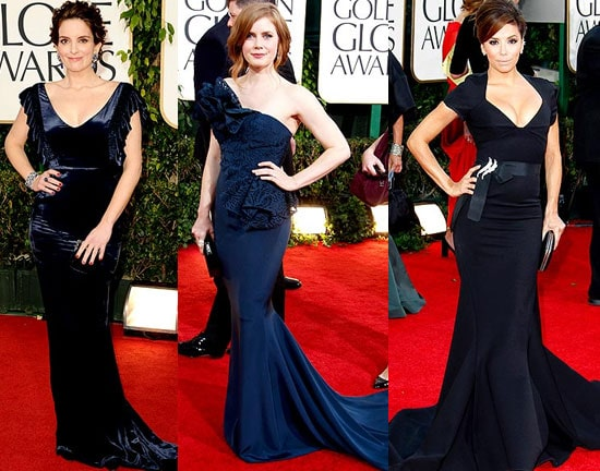 Navy Blue dresses at the Golden Globes
