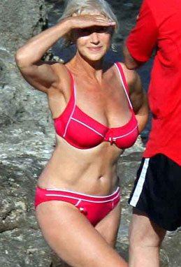 fashion for women after 60 -- Helen Mirren wearing a bikini