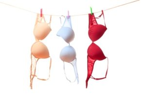 The color bra hanging on clothes line