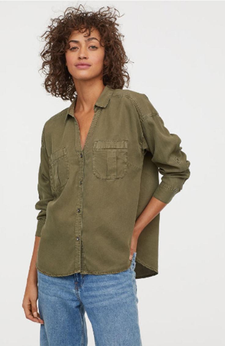 Green lyocell top