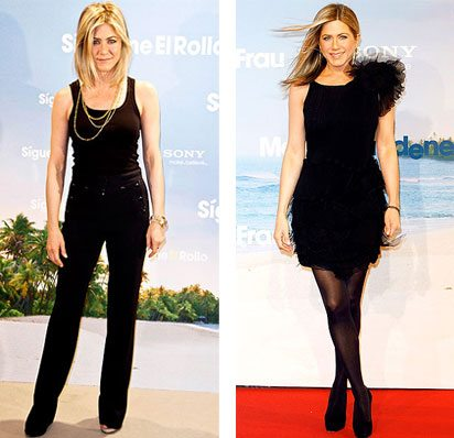 Jennifer Aniston wearing black outfits