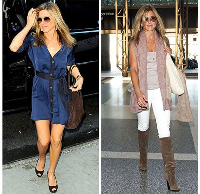 Jennifer Aniston collage of two outfits