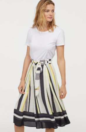 Striped skirt with tie waist